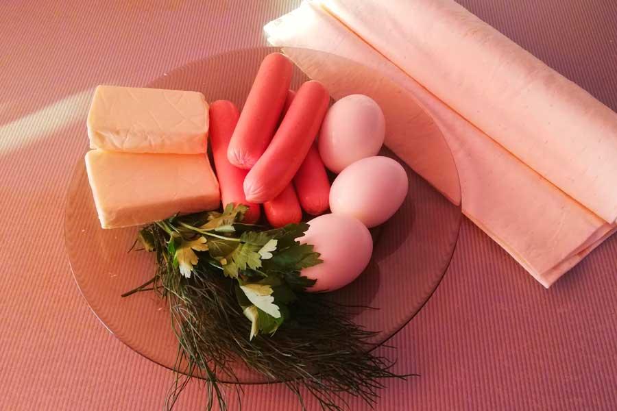 Набор продуктов для сосисок в лаваше