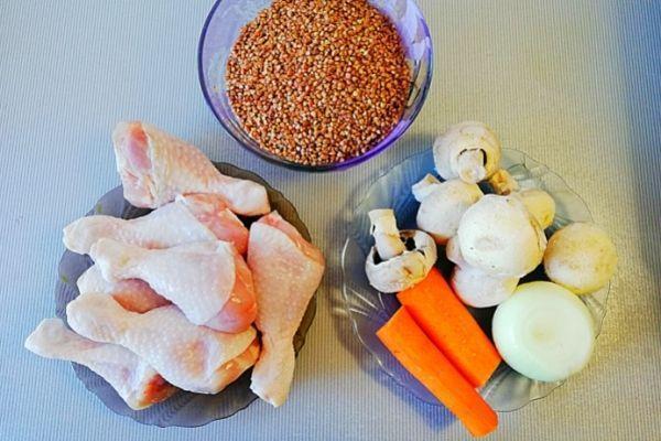 Курица с гречкой. Ингредиенты.