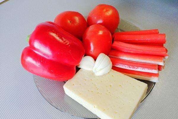 Ингредиенты для салата Красное море.
