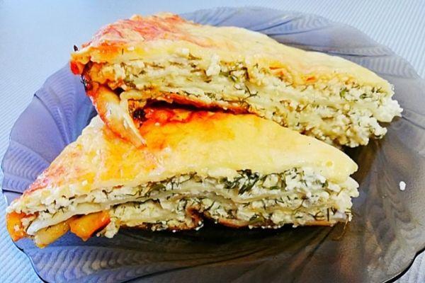 Ленивые хачапури с сыром и творогом из лаваша